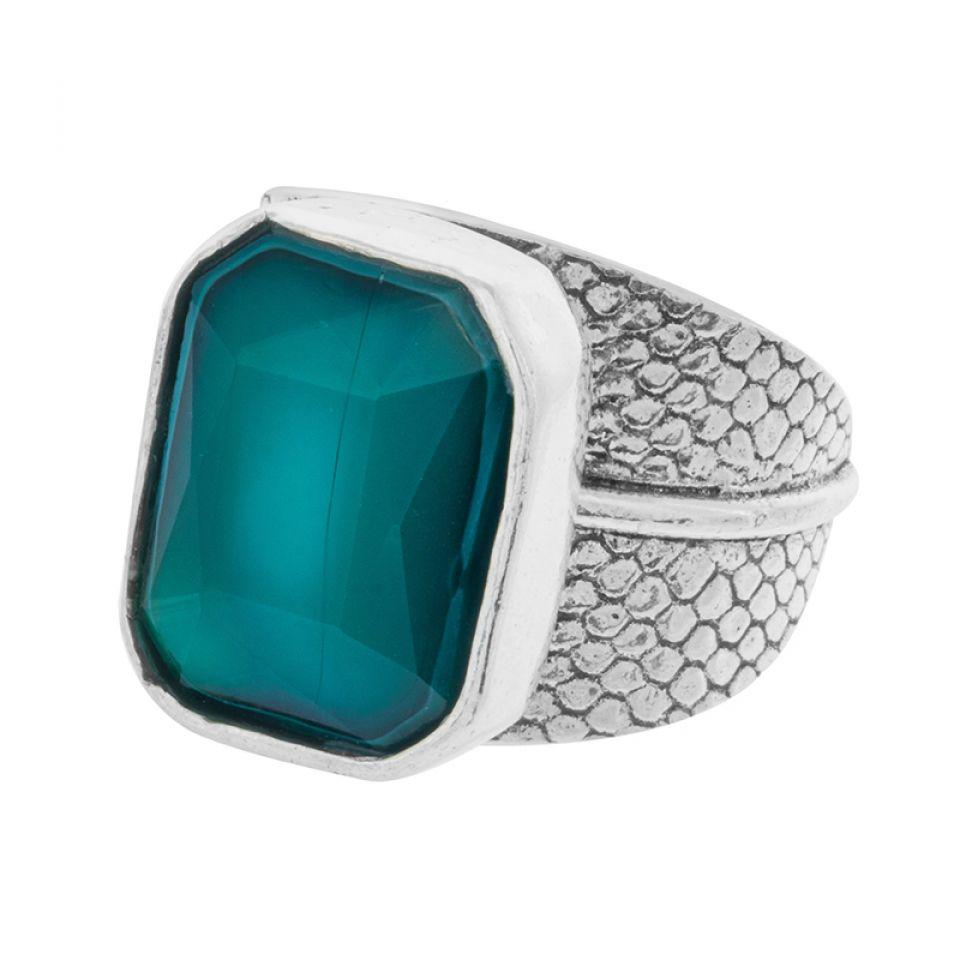 Bague Panthere Bleue Argente Turquoise Taratata Bijoux Fantaisie en ligne 1