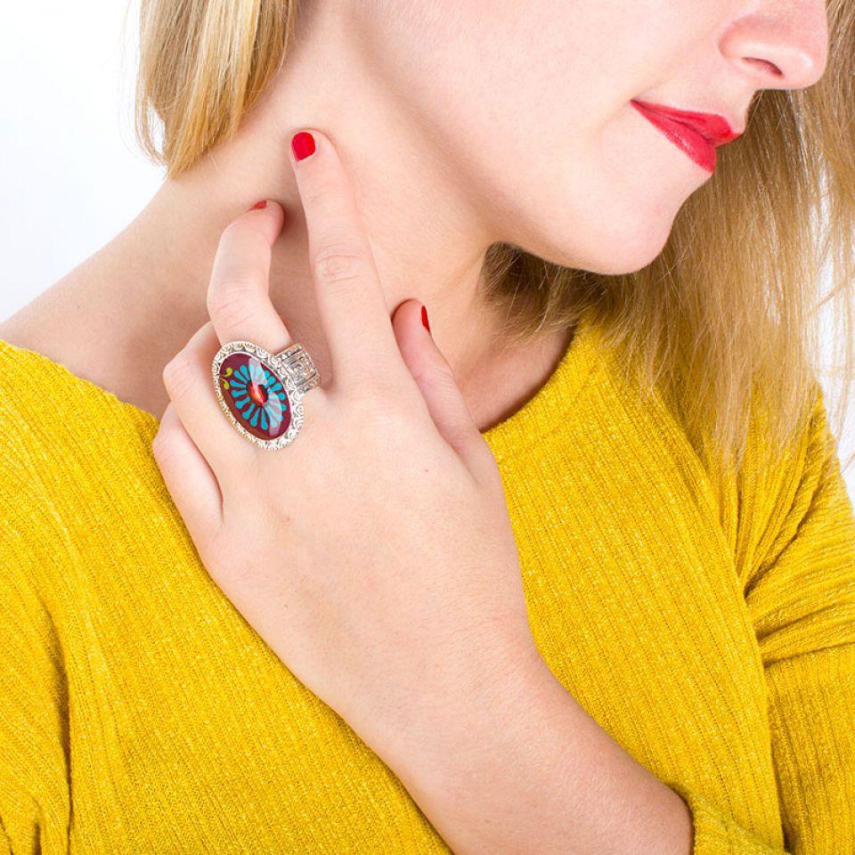 Bague Ruby Argent Rouge Taratata Bijoux Fantaisie en ligne 2