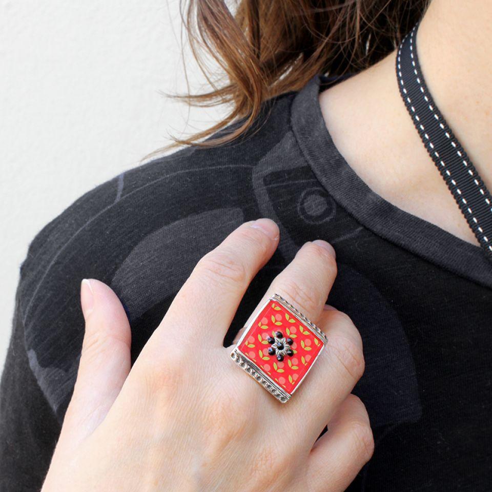 Bague Septieme Art Rouge Taratata Bijoux Fantaisie en ligne 2