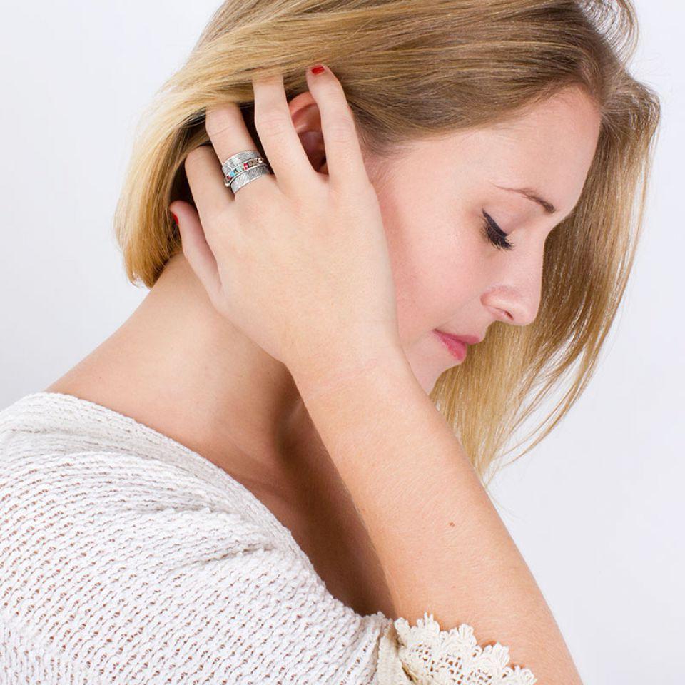 Bague Smocks Argent Multi Taratata Bijoux Fantaisie en ligne 3