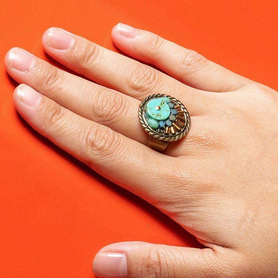 Bague Sombrero Bronze Bleu Taratata Bijoux Fantaisie en ligne 2
