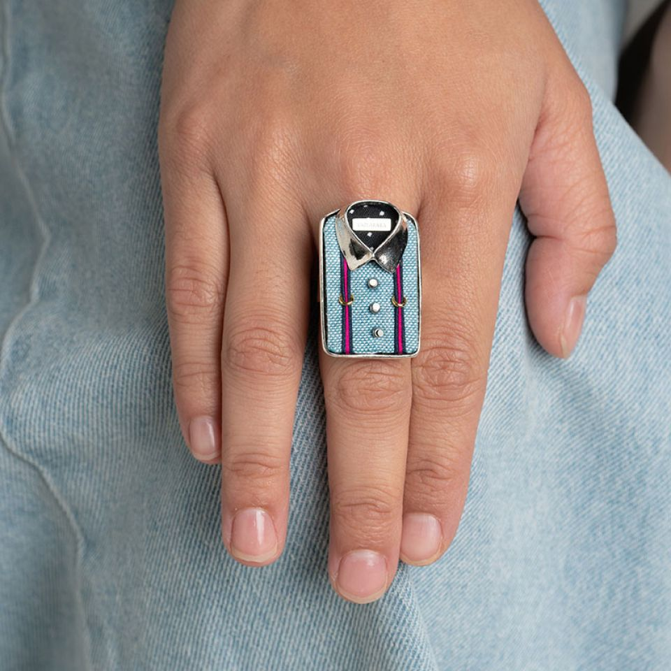 Bague On Y Va ! Argente Bleu Taratata Bijoux Fantaisie en ligne 2