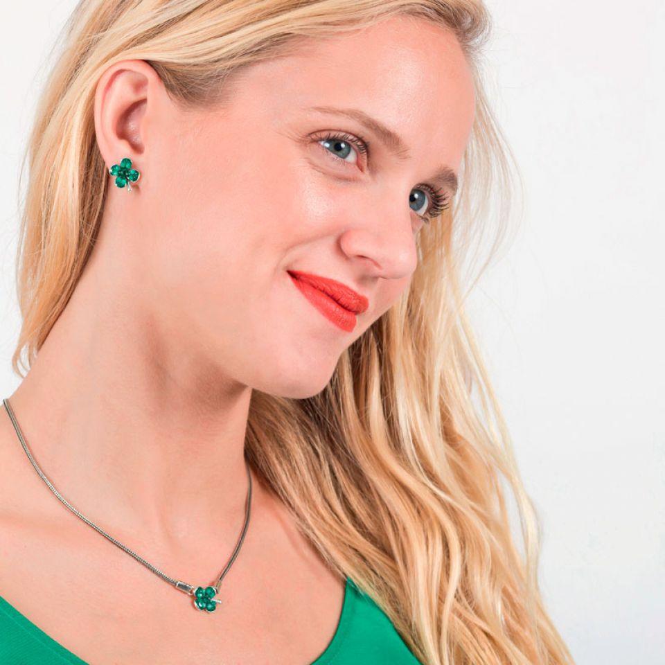 Puces Taraboum Argent Vert Taratata Bijoux Fantaisie en ligne 2