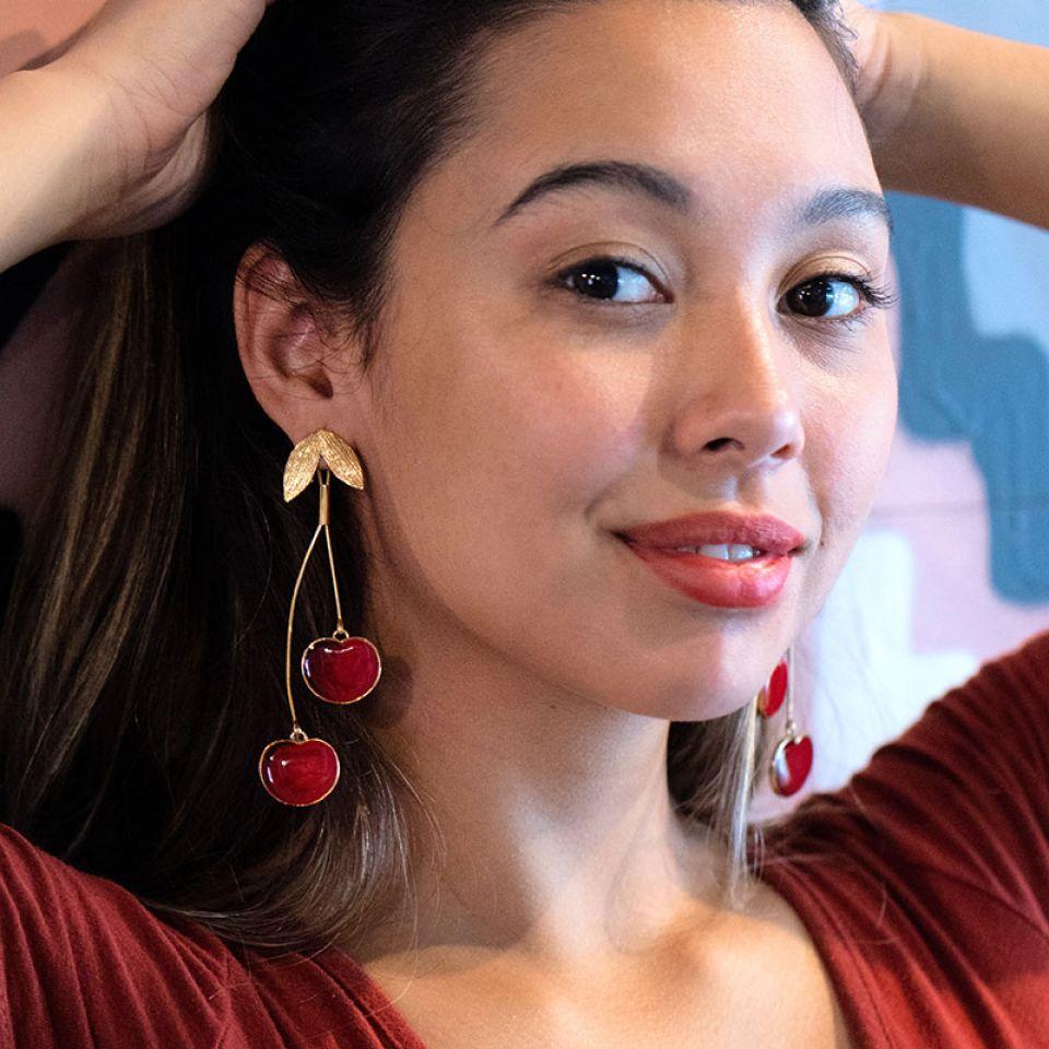 Puces Cherie Dore Rouge Taratata Bijoux Fantaisie en ligne 2